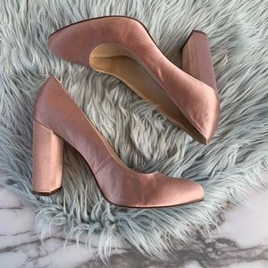 Nine West Pink Satin Block Heel